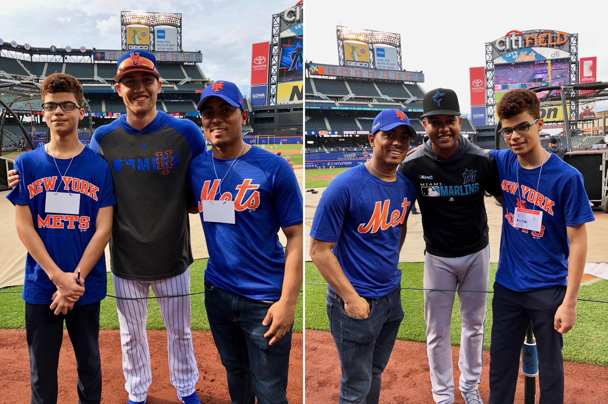 Mentor Raul and mentee Daniel with Brandon Nimmo of the New York Mets and Starlin Castro of the Miami Marlins
