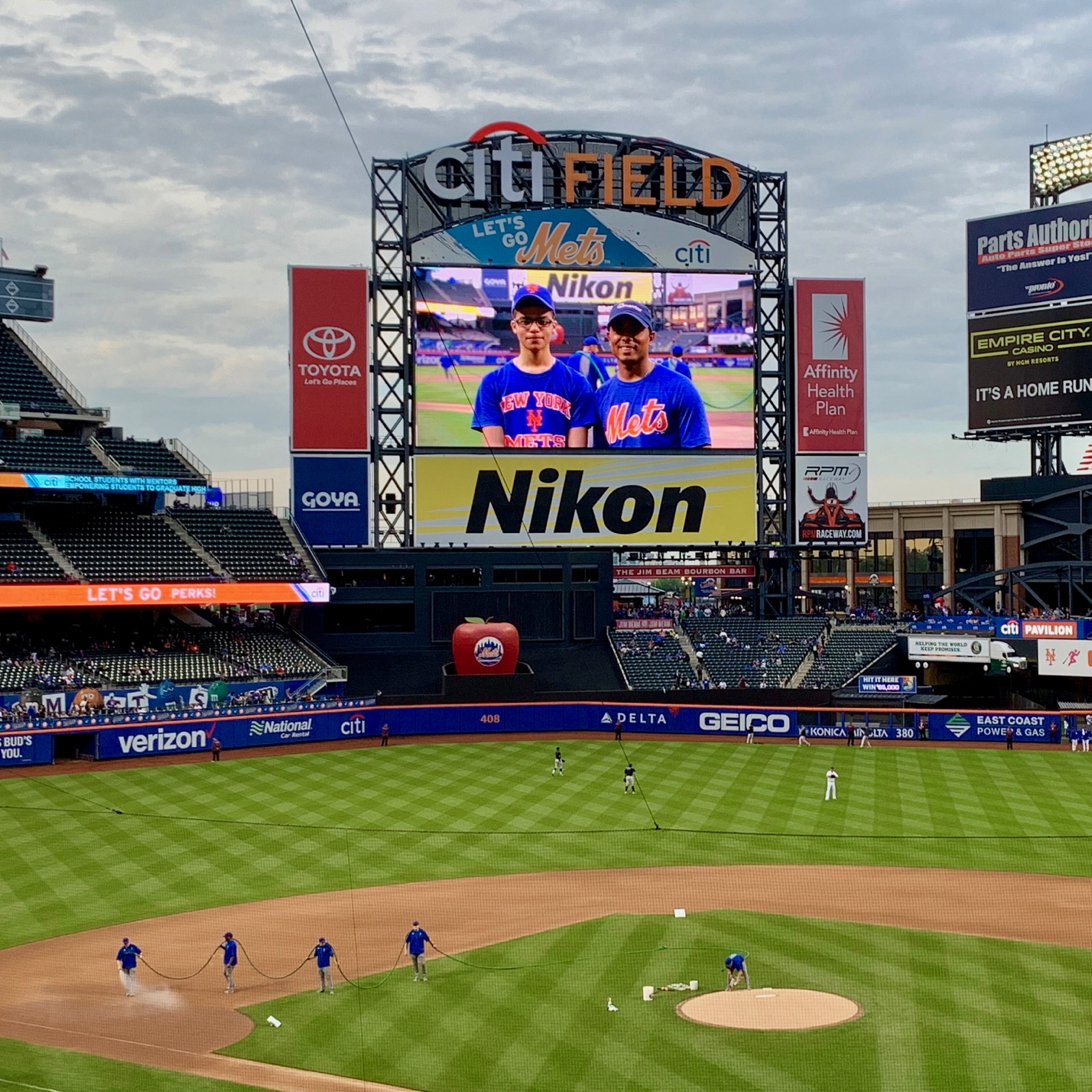Raul and Daniel spotlighted on the jumbotron at Citi Field
